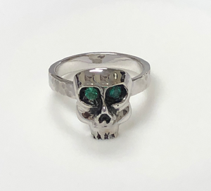 Sterling Silver and Rhodium Plated Skull with Genuine Emeralds