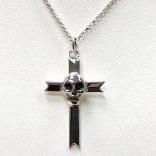 Load image into Gallery viewer, Skull Cross on Sterling Silver Chain