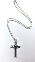 Load image into Gallery viewer, Skull Cross Pendant on Sterling Silver Dia Cut Chain