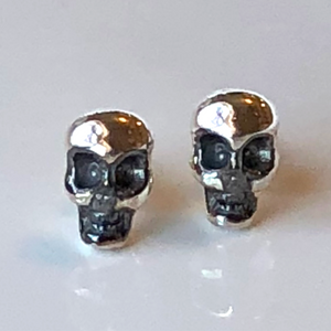 Skull Post Earrings in Sterling Silver