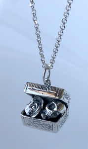 Treasure Box Rose and Skull Pendant in Sterling Silver