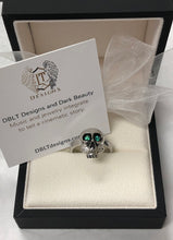 Load image into Gallery viewer, Sterling Silver and Rhodium Plated Skull with Genuine Emeralds