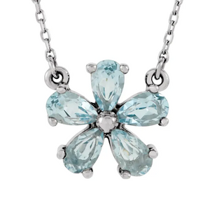"Sky Blue Topaz 16"" Necklace in 14K White"