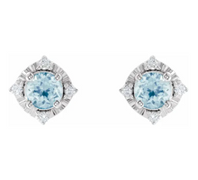 Load image into Gallery viewer, Sky Blue Topaz & .08 CTW Diamond Halo-Style Earrings
