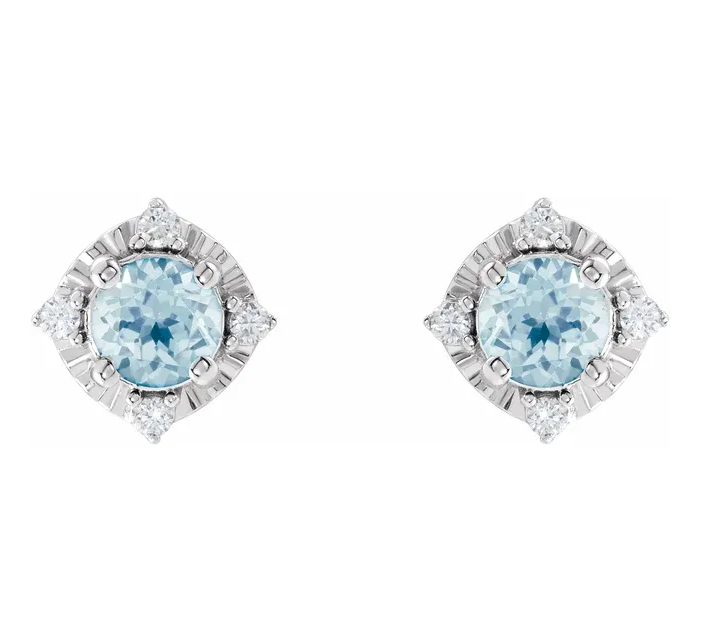 Sky Blue Topaz & .08 CTW Diamond Halo-Style Earrings