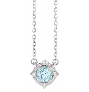 "Sky Blue Topaz and Diamond Halo-Style 18"" Necklace in 14K White"