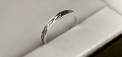 Etched Stack Ring in Sterling Silver