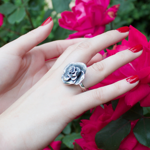 Large Rose Ring in Sterling Silver