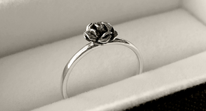 Tiny Rose Stack Ring in Sterling Silver