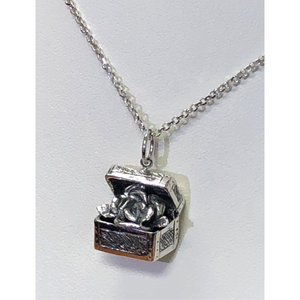Treasure Box Rose Pendant in Sterling Silver