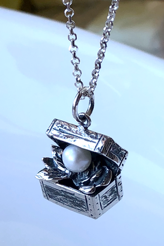 Treasure Box Pearl Pendant in Sterling Silver