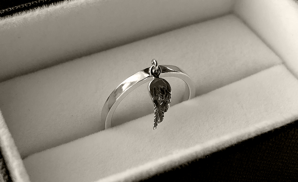 Wing Charm Stack Ring in Sterling Silver