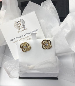 Flower Earring with White Genuine Sapphire Center in 18 Karat Yellow Gold