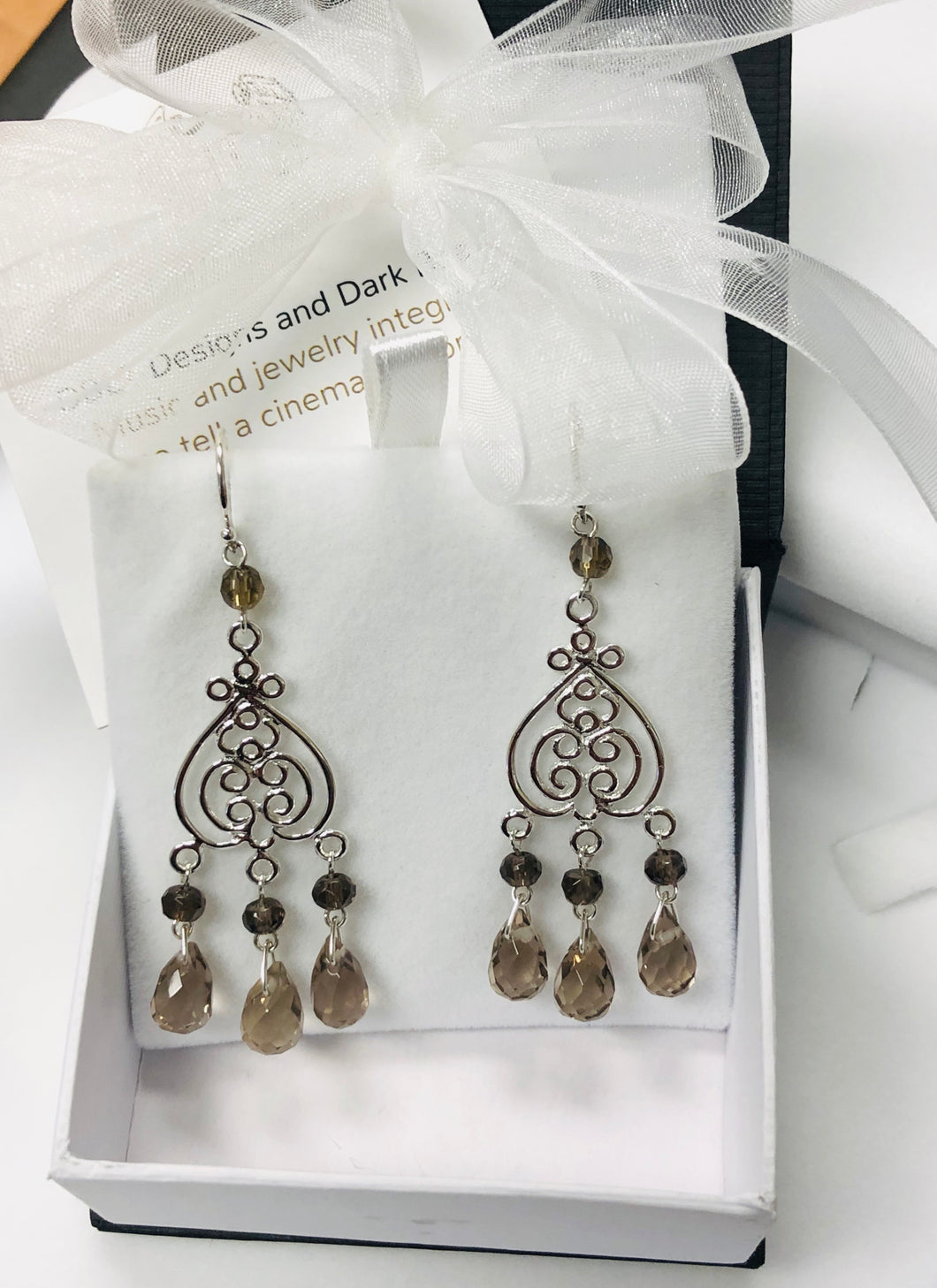 Smokey Quartz Briolette Chandelier Earrings in Sterling Silver