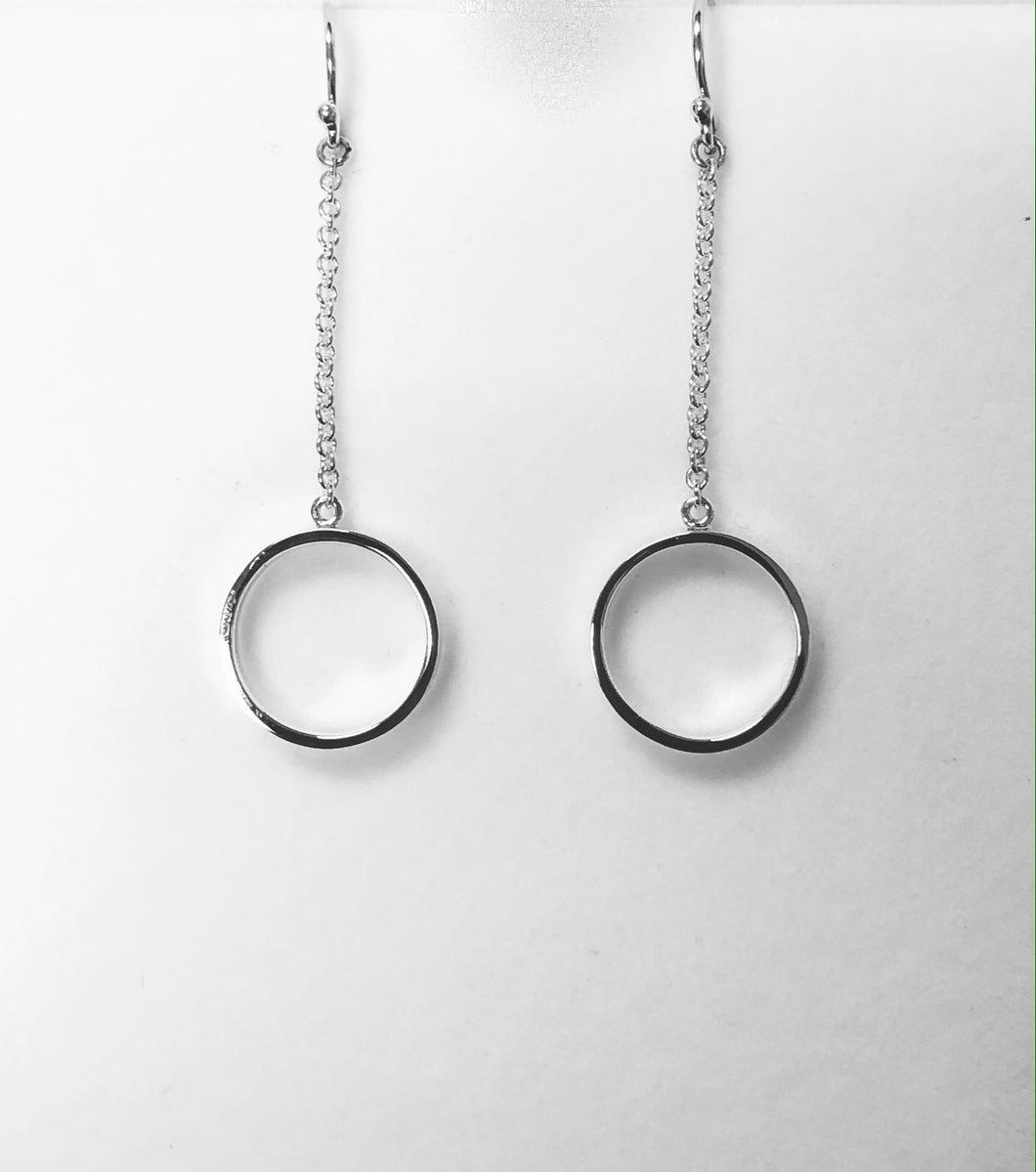 Circle Hoop with Chain Earring in Sterling Silver