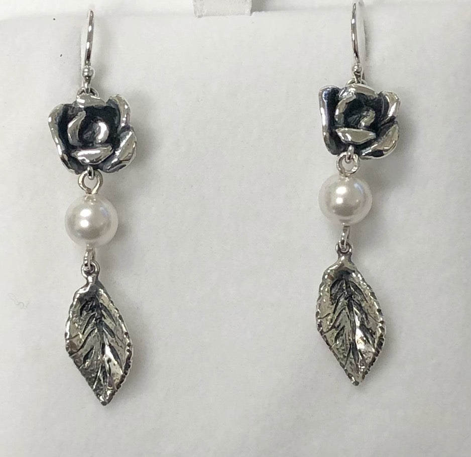 Rose Leaf Dangle Ear with Pearl Center in Sterling Silver