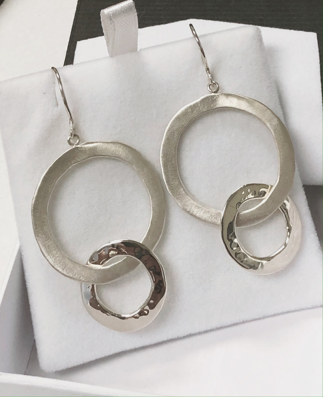 Satin & Polished Hoop Earring in Sterling Silver