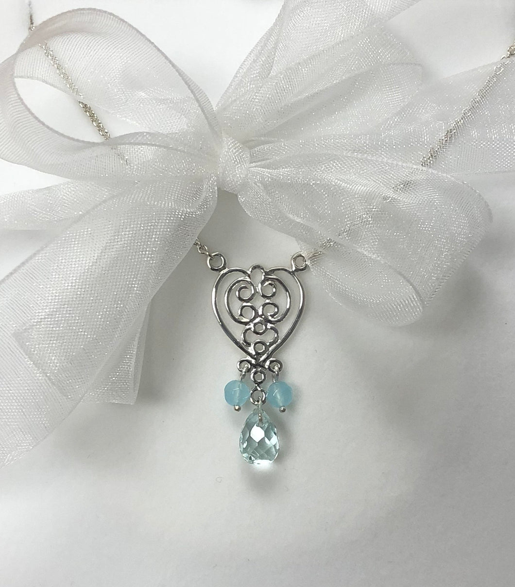 Aqua Crystal Pendant in Sterling Silver