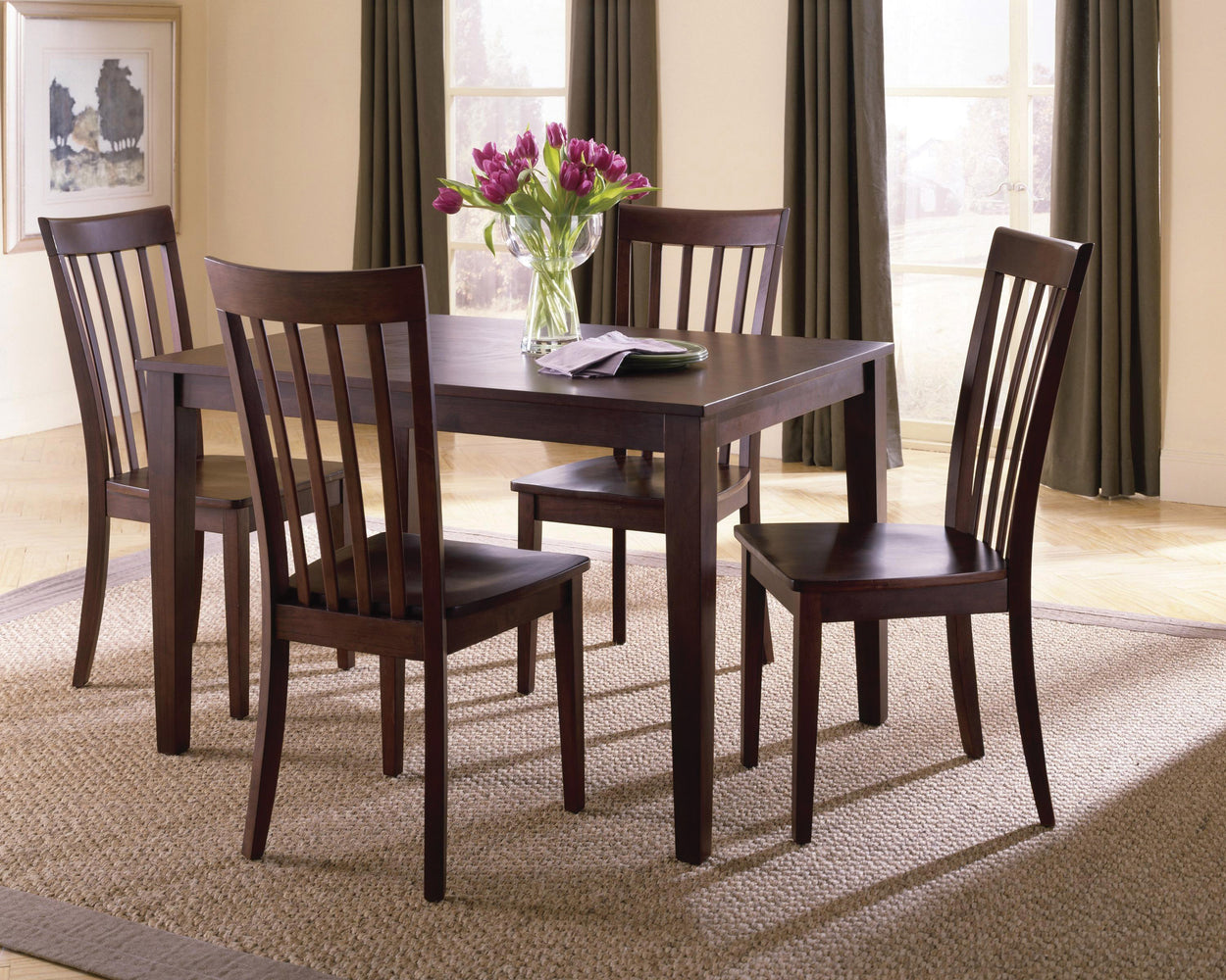 Chocolate Brown Dining Room Set (4 Chairs)