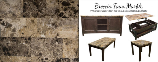 Breccia Faux Marble Occasional Tables