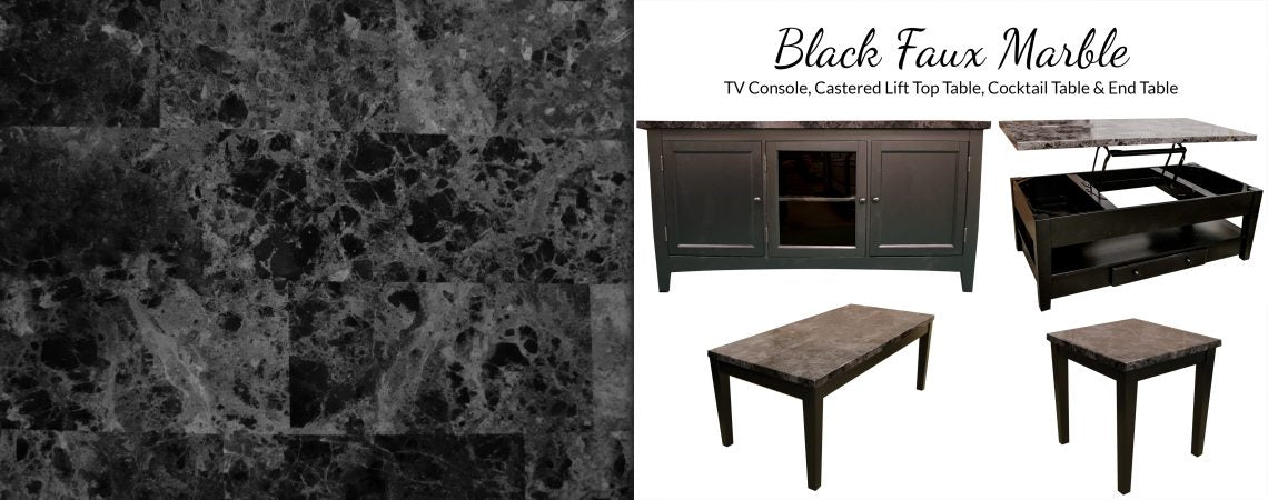 Black Faux Marble Occasional Tables
