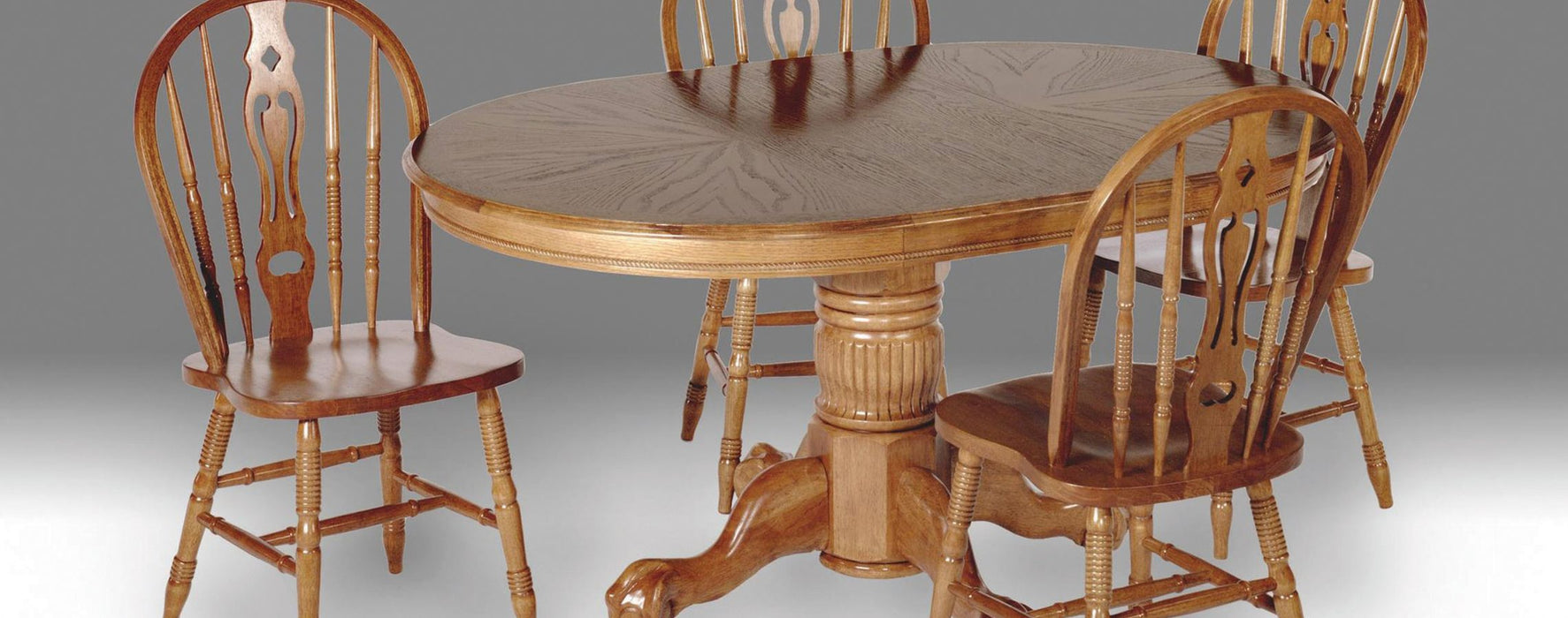 Enhanced Oak Oval Empire Pedestal Dining Room Set