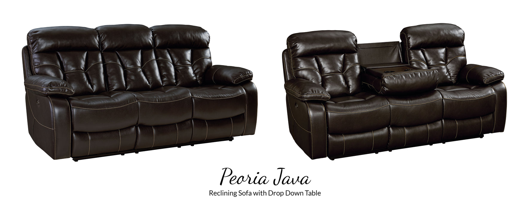 Enjoyable Peoria Java Reclining Sofa W Drop Down Table Gmtry Best Dining Table And Chair Ideas Images Gmtryco