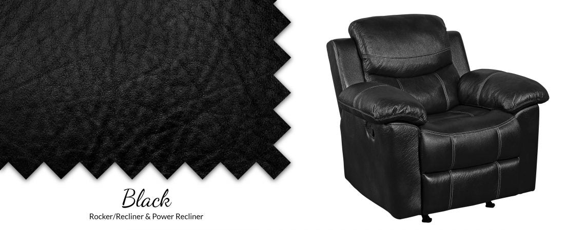 Champion Black Pad-Over Chaise Power Recliner