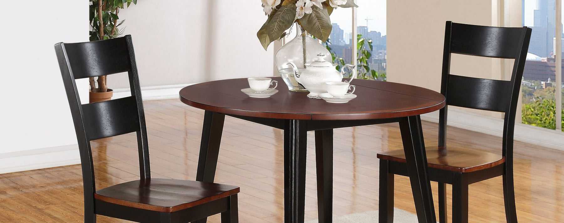Black and Cherry Drop Leaf Dining Table