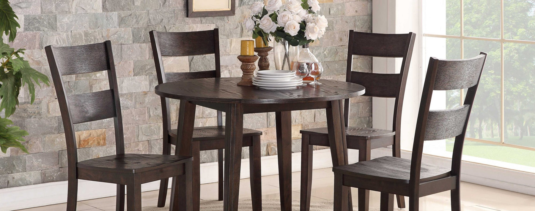 Wirebrush Dark Oak Drop Leaf Dining Table