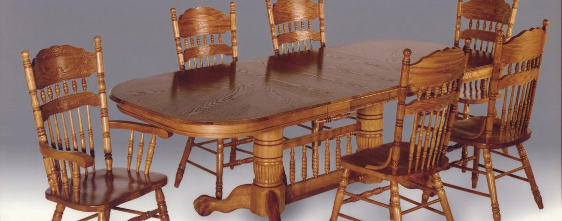 Enhanced Oak  Double Pedestal Table Dining Room Set