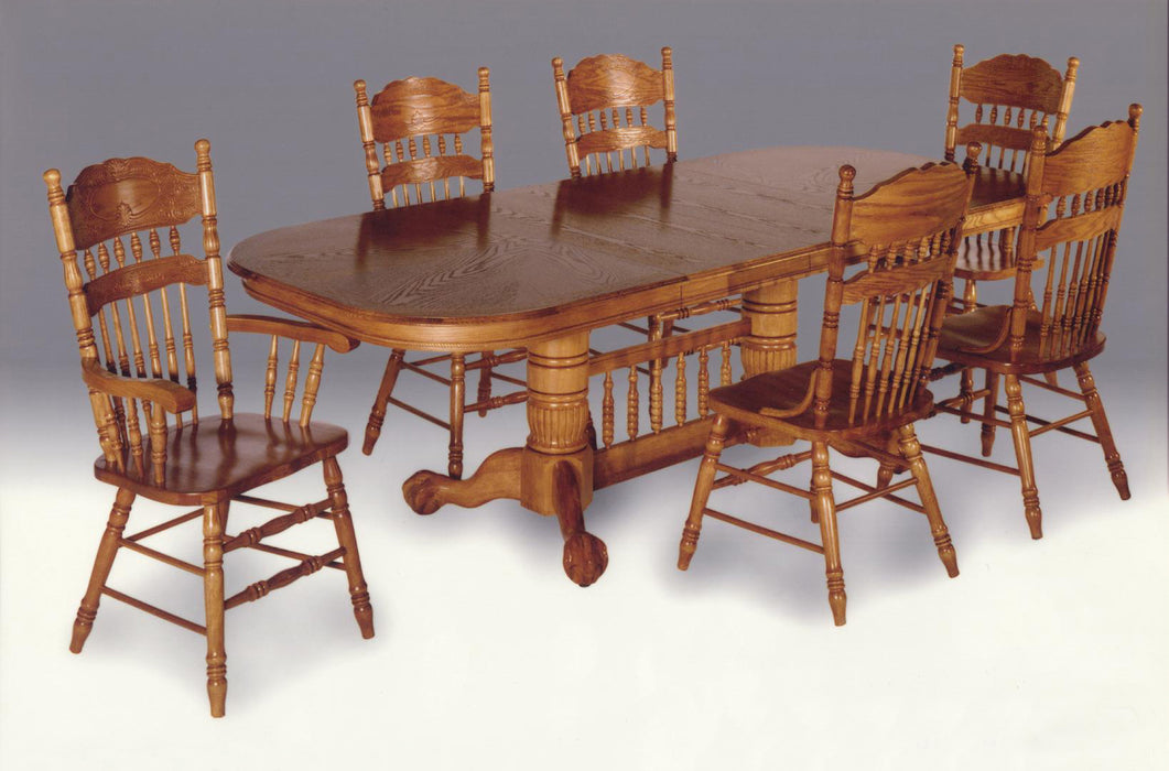 Enhanced Oak  Double Pedestal Table
