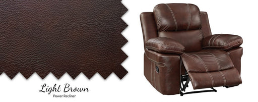 Legato Authentic Leather Pad-Over-Chaise Power Recliner