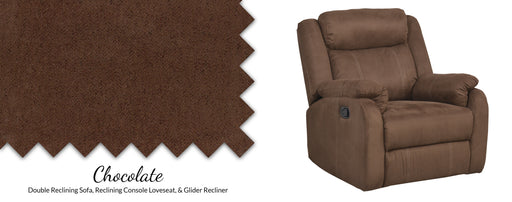 Chocolate Pad-Over-Chaise Glider Recliner