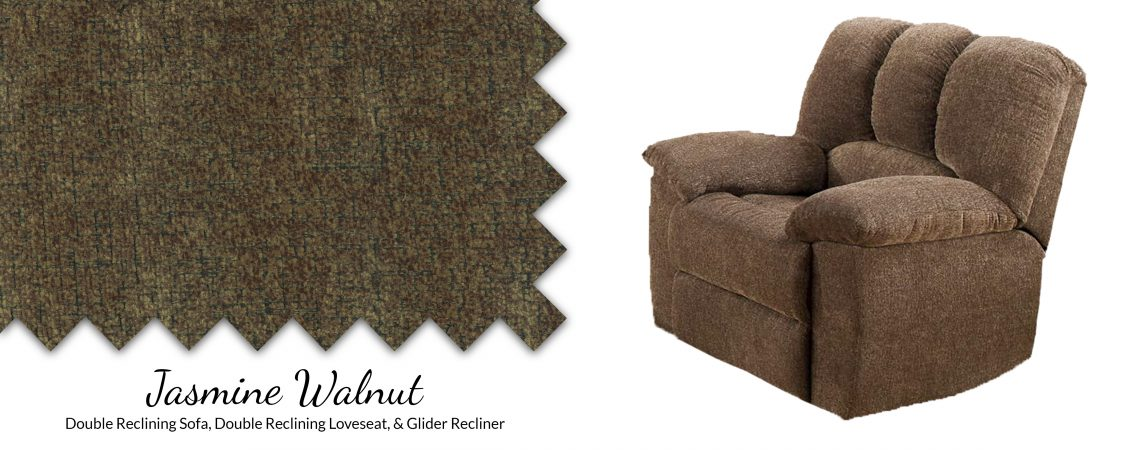 Jasmine Walnut Pad-Over-Chaise Glider Recliner