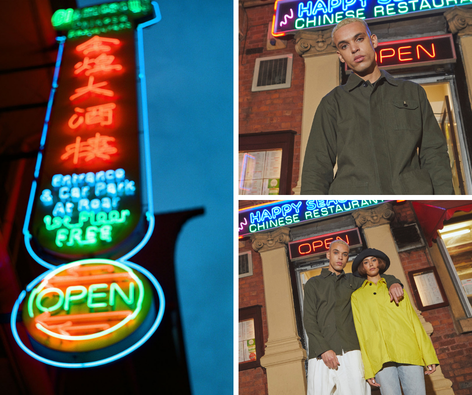 Montage of the Uskees 'Friday Night Treat' campaign photoshoot. Wearing Uskees vine-green and yellow 'hidden button' overshirt in Chinatown, Manchester, UK.