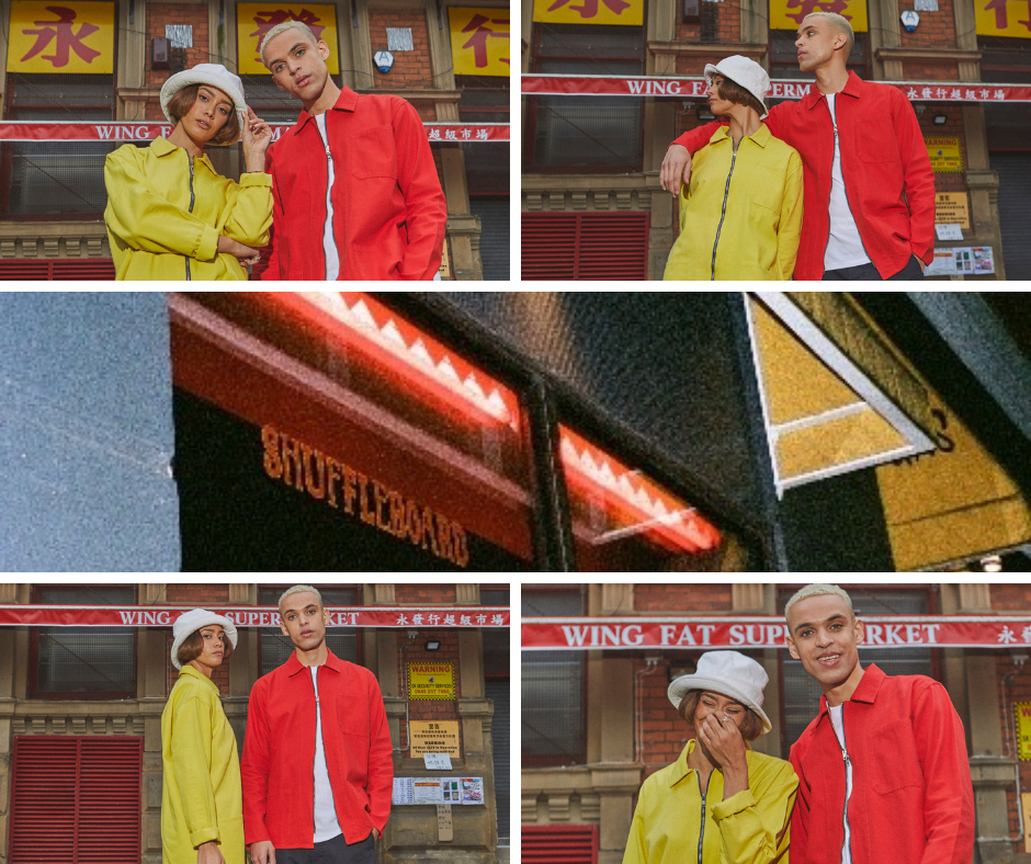 Uskees 'Friday Night Treat' campaign photoshoot. Wearing Uskees red and yellow zip-jackets in Chinatown, Manchester, UK.
