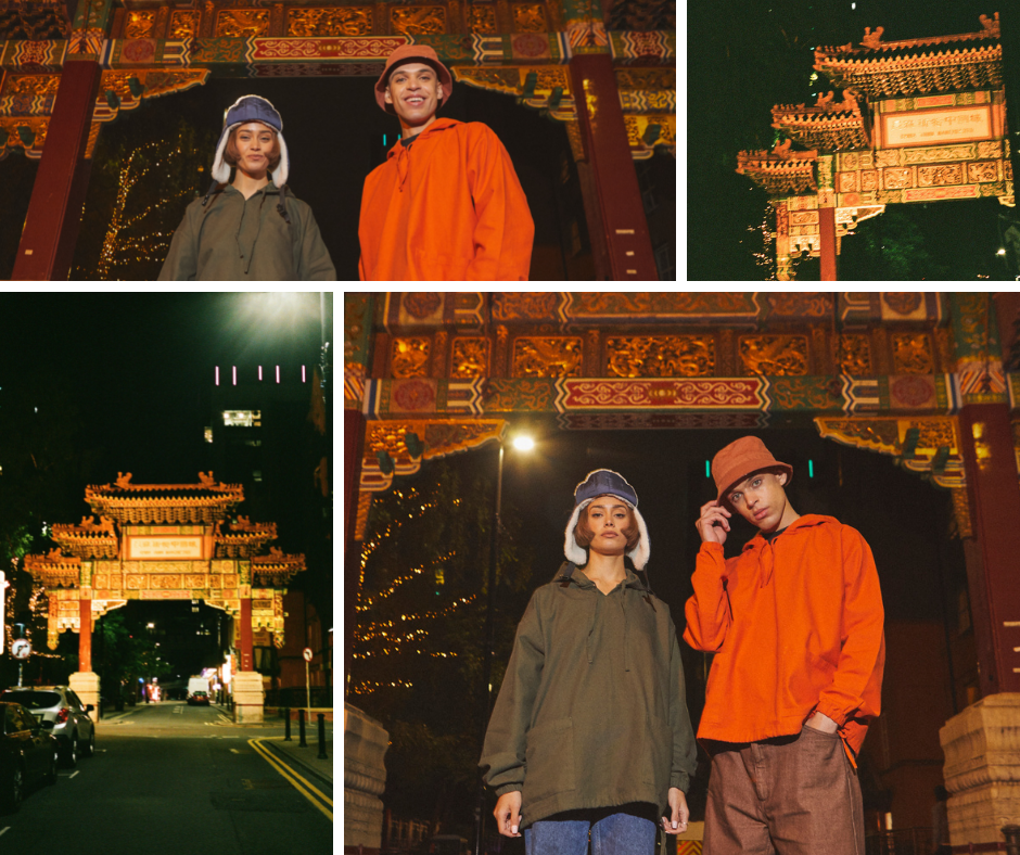 Montage of the Uskees 'Friday Night Treat' campaign photoshoot. Wearing Uskees gold and vine-green smocks at the Chinatown entrance, Manchester.