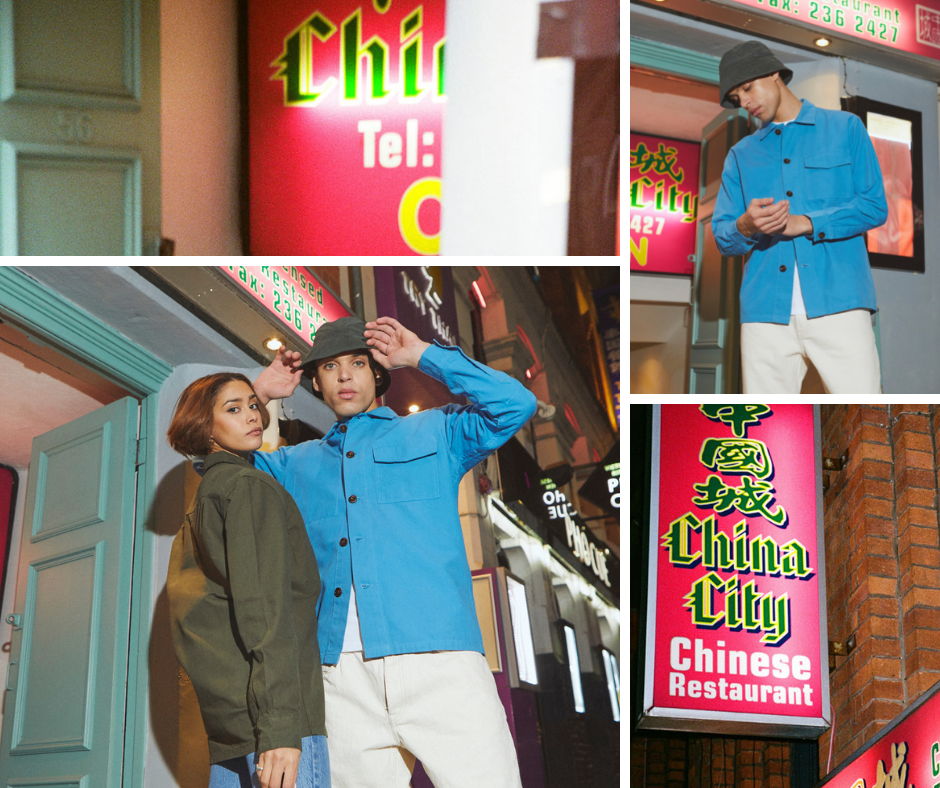 Montage of the Uskees 'Friday Night Treat' campaign photoshoot. Wearing Uskees vine-green smock and ultra-blue overshirt in Chinatown, Manchester, UK.