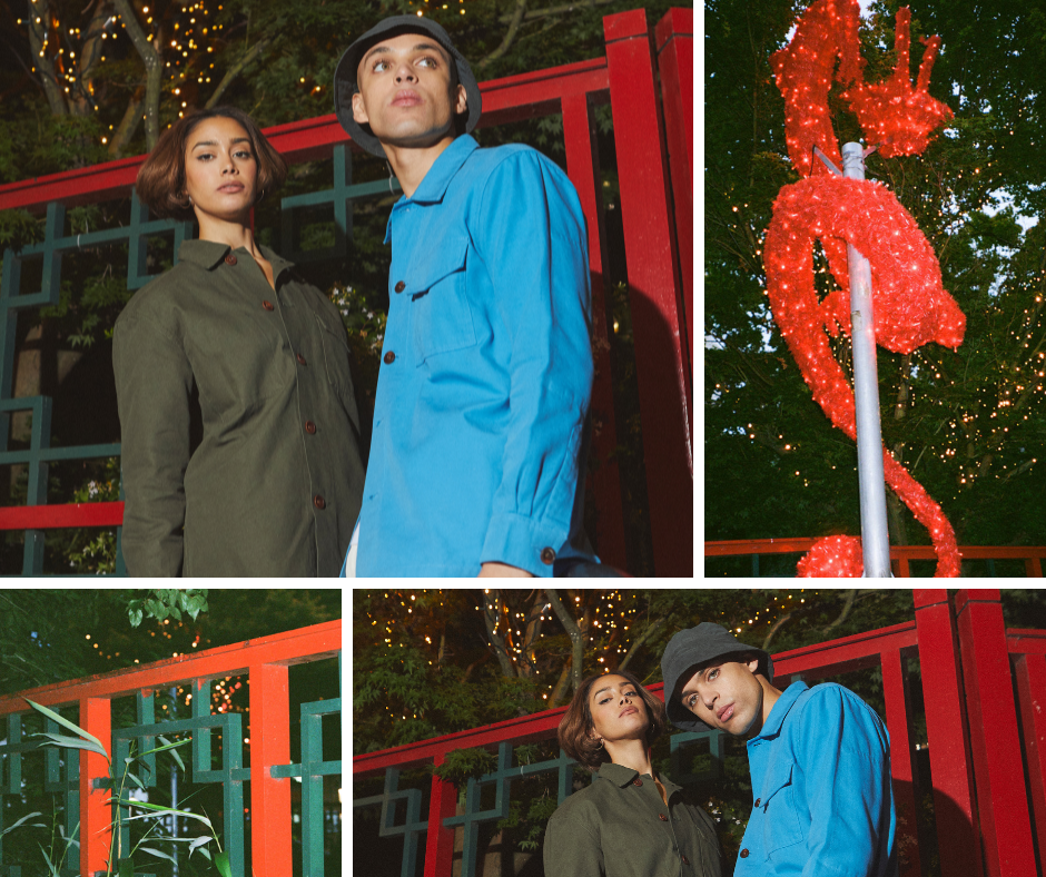 Montage of the Uskees 'Friday Night Treat' campaign photoshoot. Wearing Uskees vine-green and ultra-blue overshirts in Chinatown, Manchester, UK.