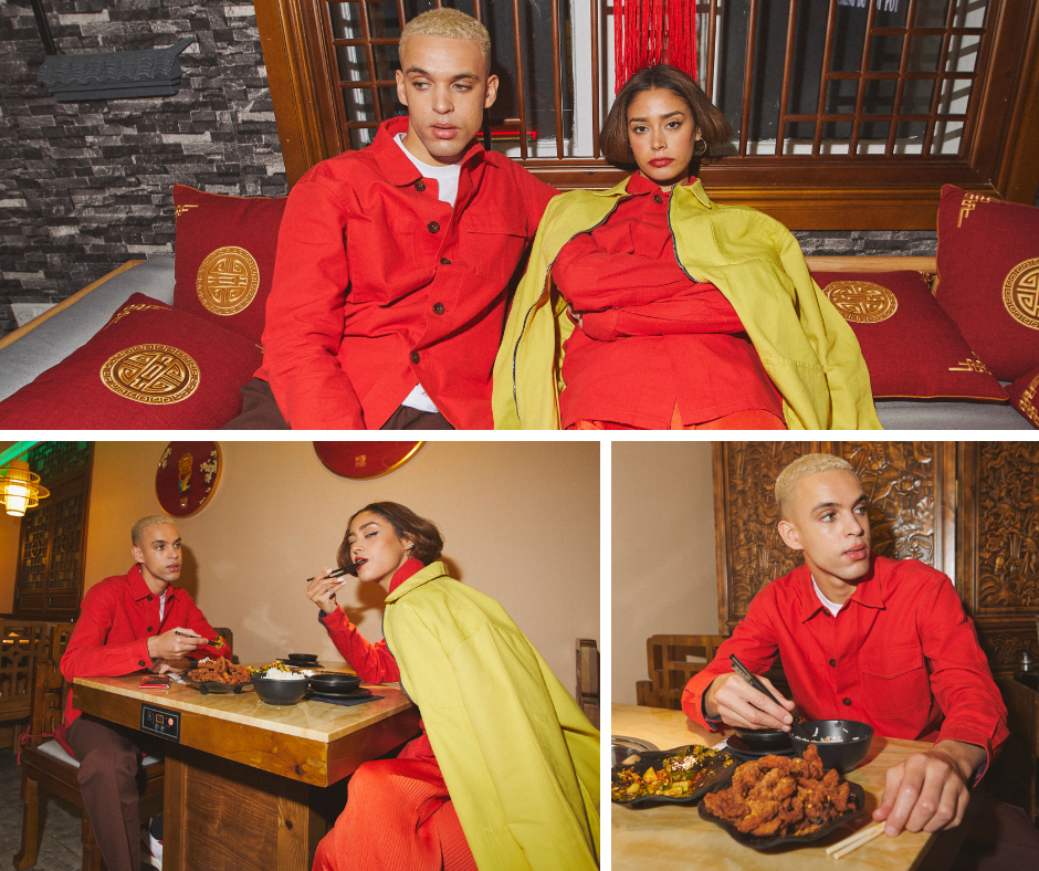 Montage of the Uskees 'Friday Night Treat' campaign photoshoot. Wearing Uskees bright red overshirts in a Chinatown restaurant, Manchester, UK.