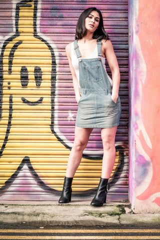 Short denim bib overalls dress
