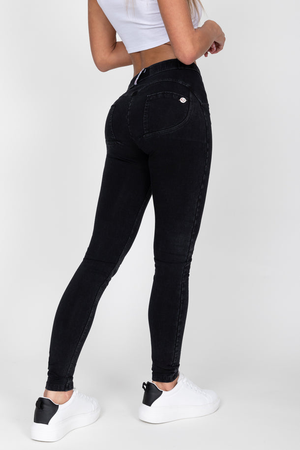 Black Mid Waist Denim Black Stitch