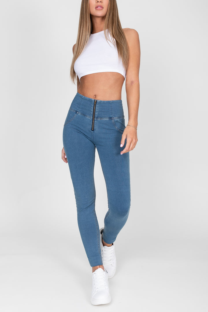 Light Blue High Waist Denim Yellow Stitch