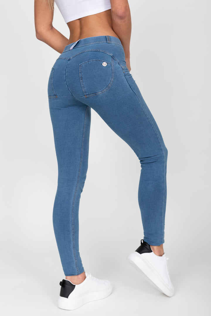 Light Blue Mid Waist Denim Yellow Stitch