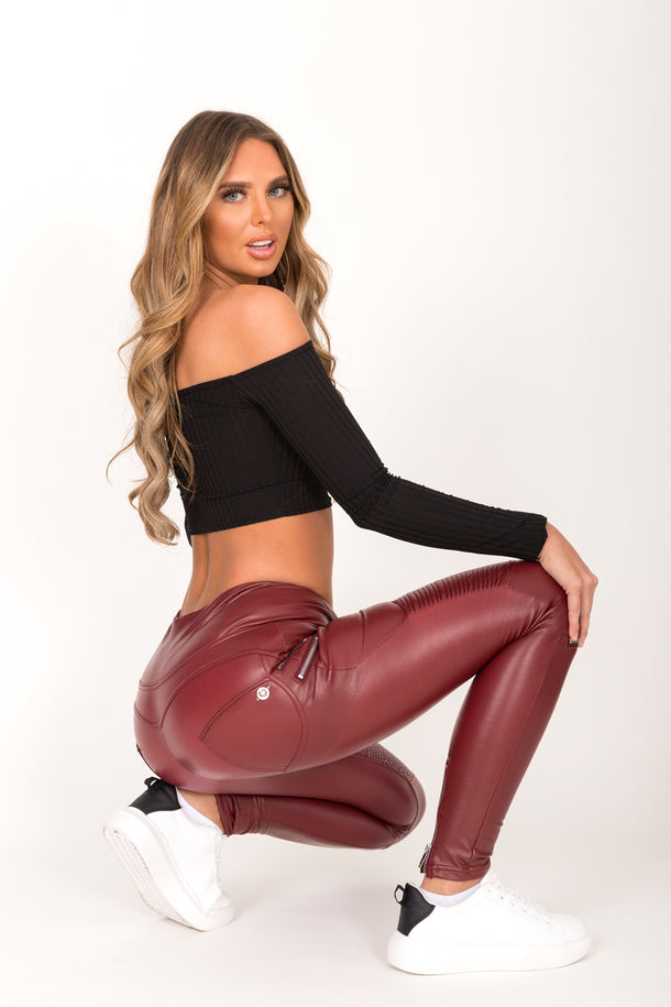 Wine Faux Leather Biker Pant High Waist