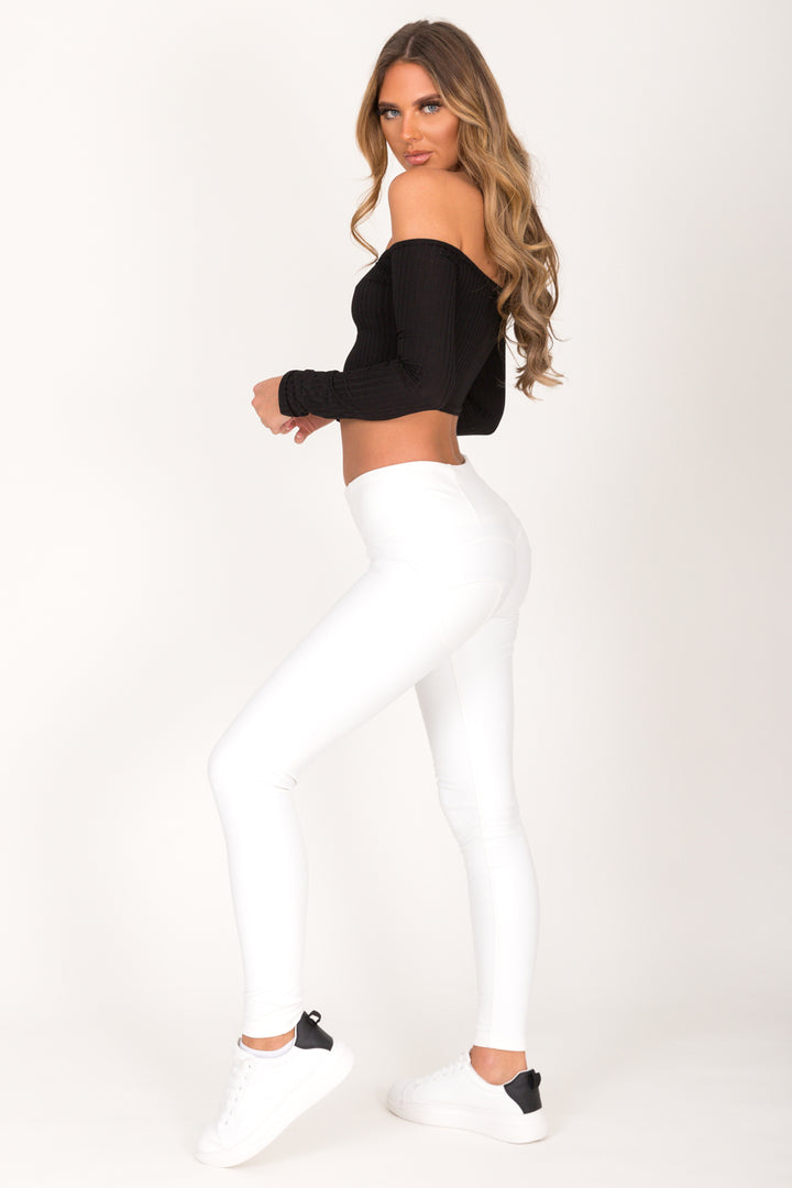 White Faux Leather High Waist