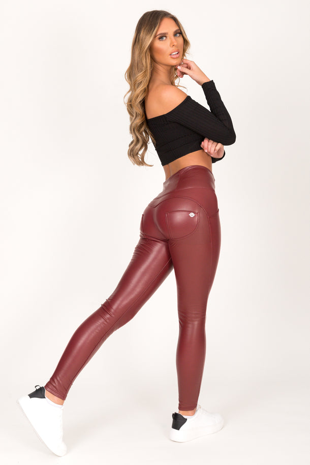 Wine Faux Leather High Waist