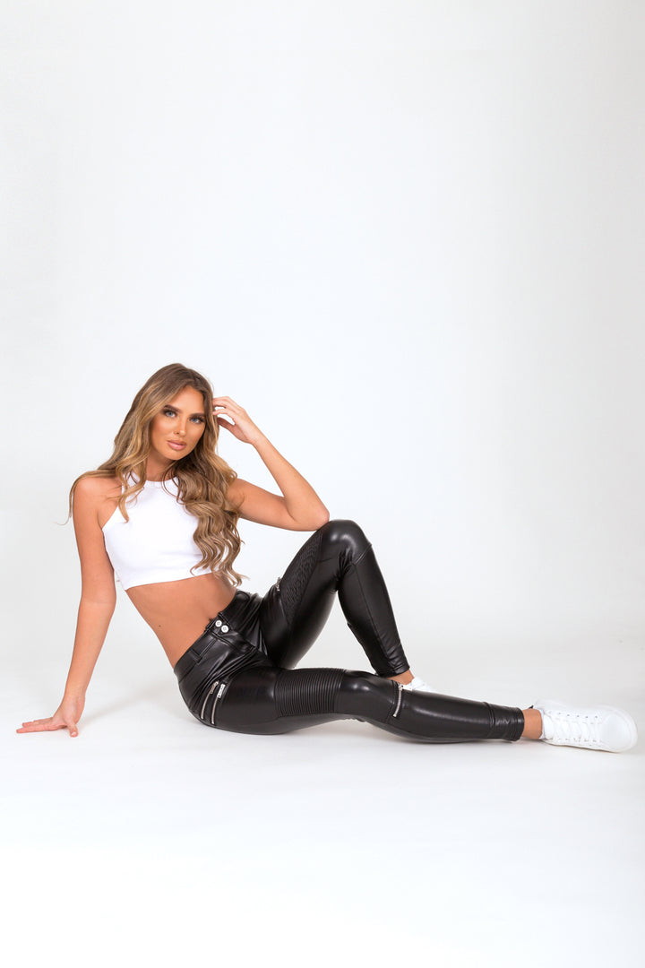 Black Faux Leather Biker Low Waist
