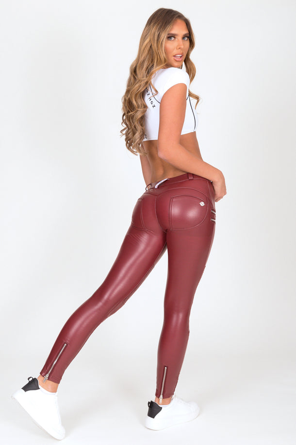 Wine Faux Leather Biker Low Waist